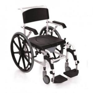 Silla de baño de aluminio con ruedas grandes