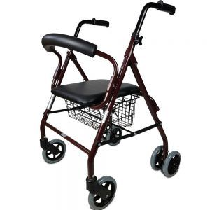 Andador rollator 4 ruedas con frenos por presión -Color Granate