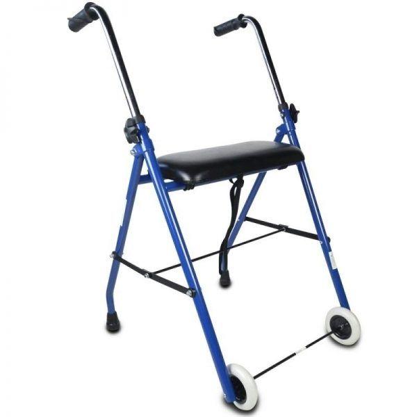 Andador plegable - asiento - 2 ruedas - azul - Emérita